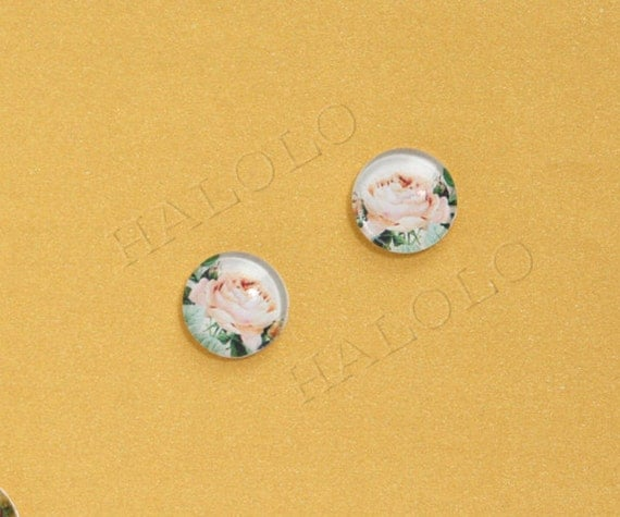 10pcs handmade  flower clear glass dome cabochons 12mm (12-91227)