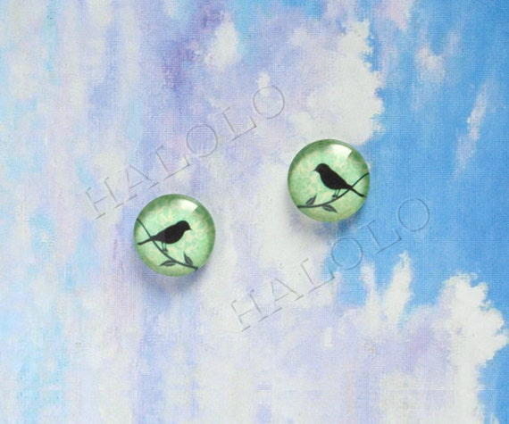 10pcs handmade bird silhouette on green round clear glass dome cabochons 12mm (12-9832)