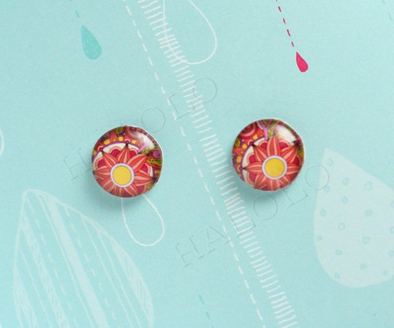 10pcs handmade red flowers glass dome cabochons 12mm (12-9875)
