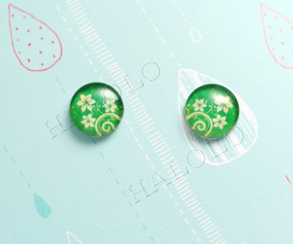 Sale - 10pcs handmade green flowers glass dome cabochons 12mm (12-9872)