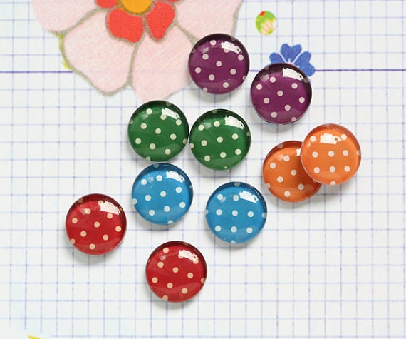10pcs handmade assorted colors vintage style dots round clear glass dome cabochons / Wooden earring stud 12mm (12-9968)