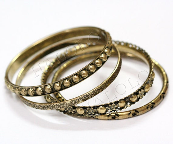 4pcs mixed style antique brass  finish bangle 68mm (D099C) L