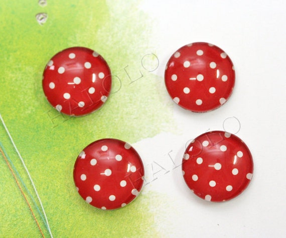 6pcs handmade red dots round clear glass dome cabochons 14mm (149984)