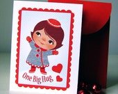 One Big Hug - Set of 4 Mini Cards and Envelopes - My own original illustration