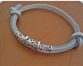 White Leather with Silver Center multi- wrap bracelet cuff