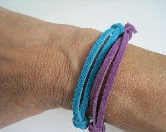 Lavender and Blue Leather Wrap Bracelet Cuff set