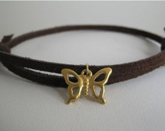 Slender Suede Wrap with Golden Butterfly Leather Wrap Bracelet Cuff
