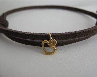 Leather Bracelet Women's Slender Suede Slider with Golden Heart - ON SALE