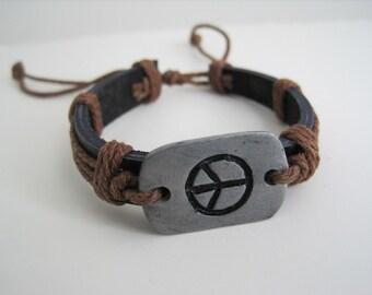 Leather Unisex Bracelet Engraved Peace Sign Leather Cuff Wrap Bracelet