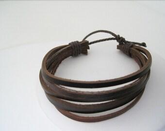 Leather Brown MultiStrap Cuff Bracelet