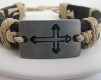 SALE  Crusade Cross Wrap Bracelet Leather Cuff