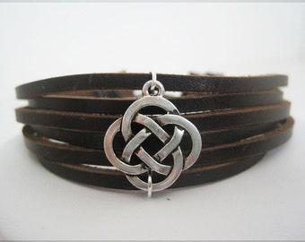 BIG SALE now in SHOP--- Celtic Brown Leather Wrap Bracelet Cuff