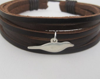 SIlver Sparrow Brown Leather Wrap Bracelet Cuff