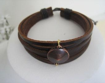 Leather Bracelet Women's Men  Copper Center Leather Cuff/ Silver Center Leather Cuff