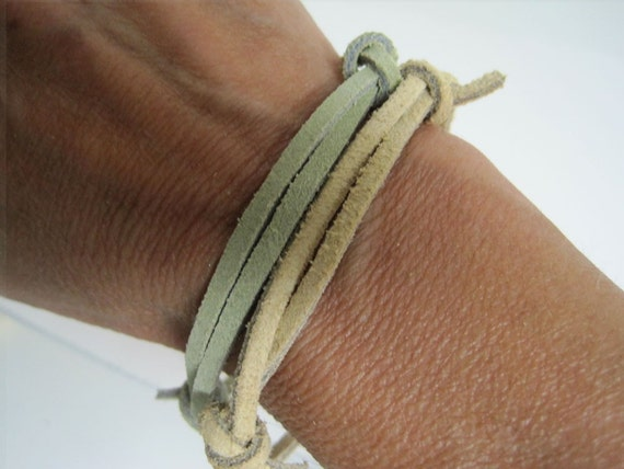 Slender Leather  Wrap Bracelet Cuff Set