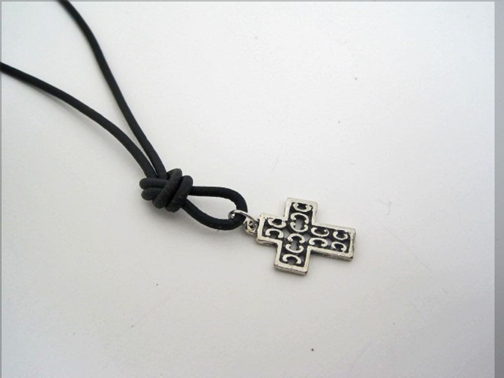 mens unisex leather cord with cross necklace