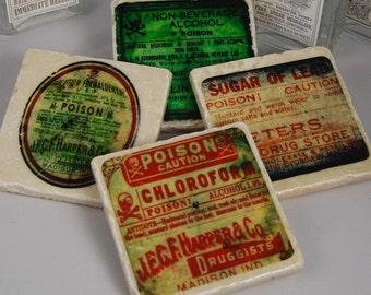 Poison Label coasters