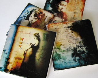 She Whispers coaster set of 4