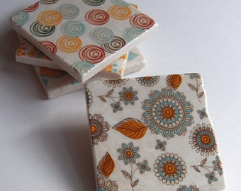 In The Garden - stone tile coasters - set of 4