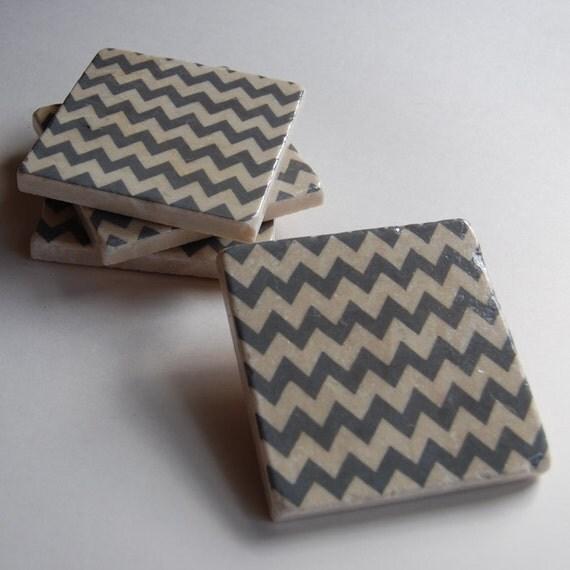 Grey Chevron Coasters
