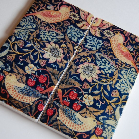 Hearth & Home stone coasters - birds and floral folk art - William Morris