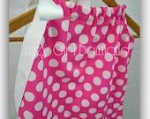 Girls Pillowcase Dress Pink with White Polka Dots and White Ribbon Ties Sz 6mo, 12mo, 18mo, 2T, 3T, 4T, 5 Sz 6, 7, 8 Three Dollars More