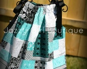 Girls Dress Pillowcase Style in Cherish Patch Fabric with Black Ribbon Ties