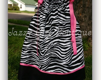 Zebra Print Dress Pillowcase Dress in Zebra W- Black Border and Pink Ribbon Accents and Ties Sizes 6mo - 5T Sizes 6, 7, 8 Three Dollars More