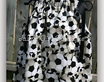 Girls Pillowcase Dress Soccer Fabric with Black Ribbon Ties Sz 6mo, 12mo, 18mo, 2T, 3T, 4T, 5 Sz 6, 7, 8 Available for an Additional Charge