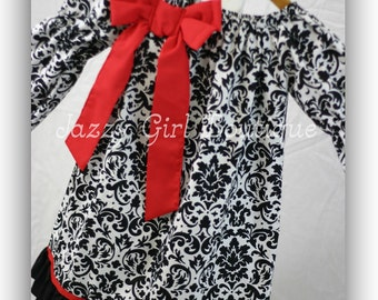 Girls Christmas Peasant Dress Black and White Damask with Bow Accent, Bottom Ruffle and Ribbon Detail  You Choose Color of Bow or Ribbon