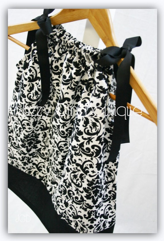 Girls Pillowcase Dress Black and White Damask with Black Ribbon Ties Sizes 6mo, 12mo, 18mo, 2T, 3T, 4T, 5T Sizes 6, 7, 8 Three Dollars More