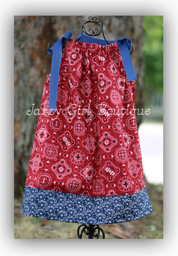Girls Cowgirl Pillowcase Dress Red Bandana With Blue Bandana