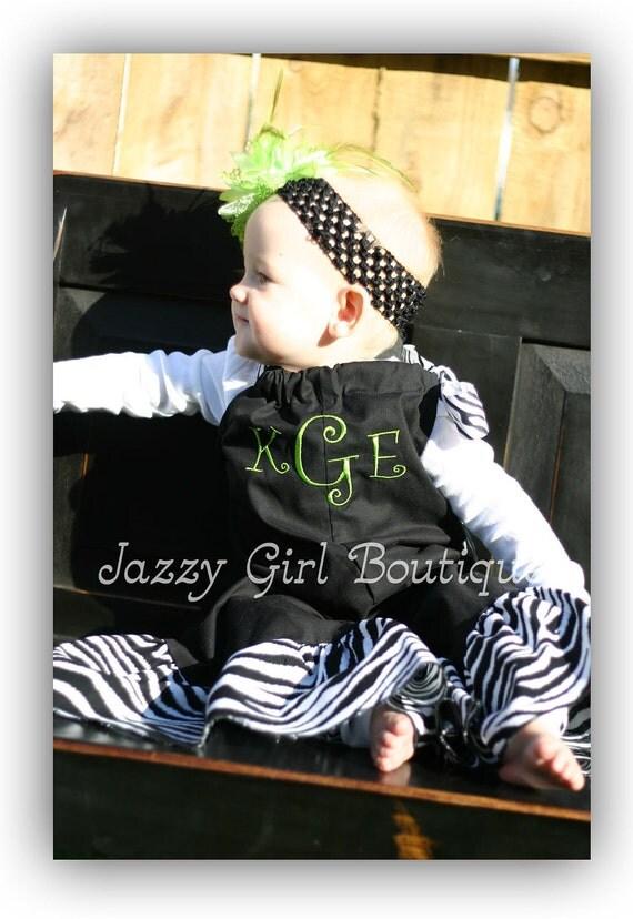 Girls Pillowcase Dress Gaucho Pants Overalls Black with Zebra Ruffle and Lime Green Monogram.