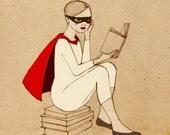 Superhero Reader Girl Mate Edition Print of original drawing