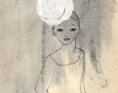 Girl with a Big Flower Hat Deluxe Edition Print of original drawing