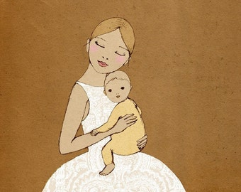 Mom with Baby SMALL art print of original drawing