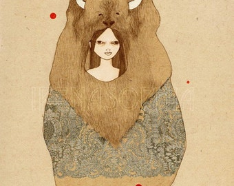 Buffalo Girl print of original drawing