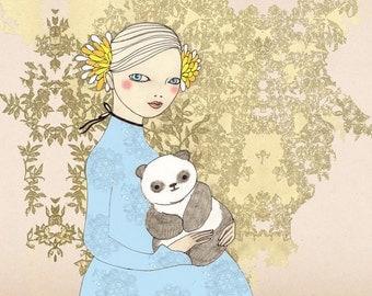 Girl with Panda print of original drawing illustration