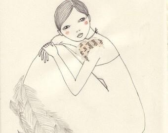 Girl nest print of original drawing