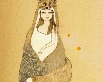 Foxy Girl print of original drawing