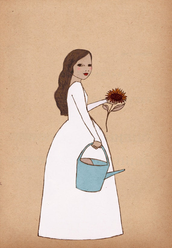 Gardner girl art Mate Edition Print  of original illustration