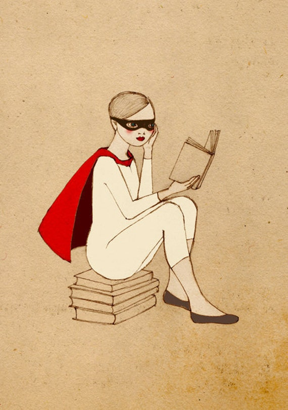 Superhero Reader Girl Mate Edition Print of original drawing