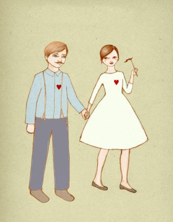 Boy and Girl  print of original drawing