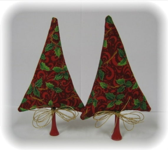 Tiny Trees Holiday Decoration 2 Elegant Red Holly Christmas Pine Fabric Toy Miniature Trees By Kim Endlich