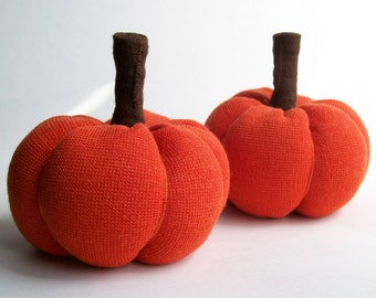 Pair of Little Orange Fabric Pumpkins