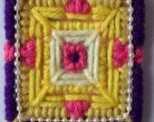 Yarn, Sewn Geometric Pattern Magnet