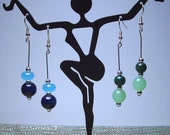 Beaded dangle earrings - 2 pair,Blues and Greens - 50 percent off, SALE