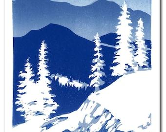Winter Mountains Handmade Block Print Note Card