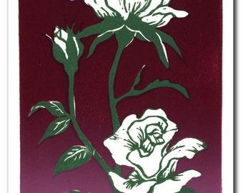 White Rose Handmade Block Print Note Card