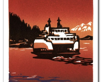 Pacific Northwest Island Ferry Handmade Block Print Note Card